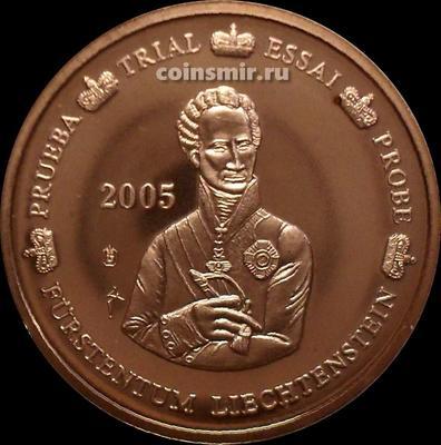 5 евроцентов 2005 Лихтенштейн. Европроба. Specimen. Иоганн I.