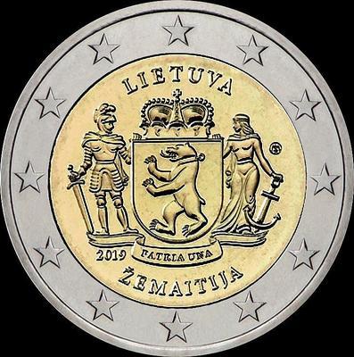 2 евро 2019 Литва. Жемайтия.
