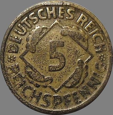 5 пфеннигов 1924 D Германия. REICHSPFENNIG
