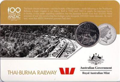 25 центов 2016 Австралия. 100 лет АНЗАК — Тайско-Бирманская железная дорога.