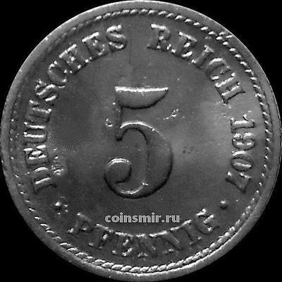 5 пфеннигов 1907 F Германия.