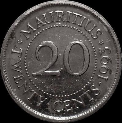 20 центов 1993 Маврикий.