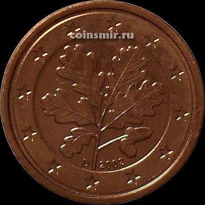 1 евроцент 2002 D Германия. Листья дуба.