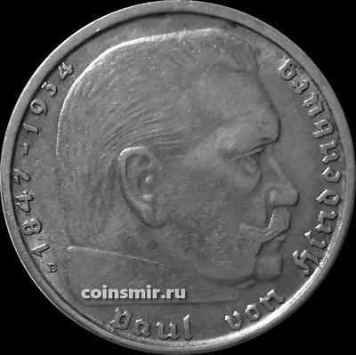 2 марки 1939 B Германия. Гинденбург. Третий Рейх.