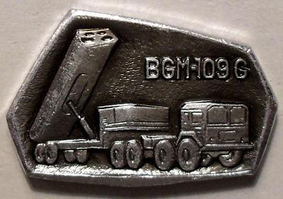 """Значок Ракетный комплекс США BGM-109G """"Томагавк"""". Серебристый."""