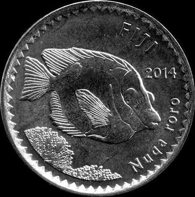 5 центов 2014 острова Фиджи. Красный сиганус.