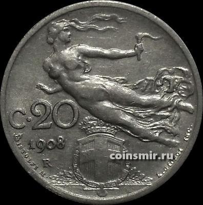 20 чентезимо 1908 Италия.
