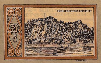 50 пфеннигов 1921 Германия г.Эренбрейтштейн. Нотгельд.