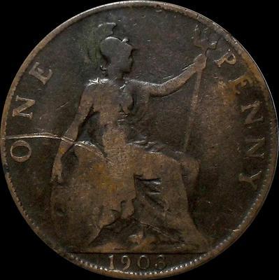 1 пенни 1903 Великобритания.