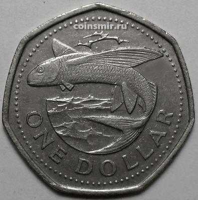 1 доллар 1989 Барбадос. Летающая рыба.