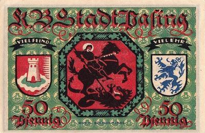 50 пфеннигов 1918 (1921) Германия г.Пасинг (Бавария). Нотгельд. Grabowski/Mehl 1050.1g