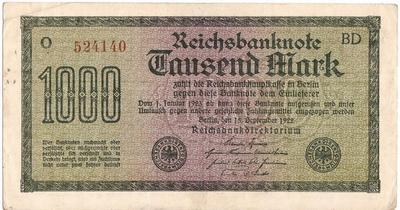 1000 марок 1922 Германия. Состояние на фото. (2)