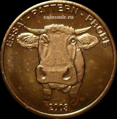 2 евроцента 2003 Швейцария. Корова. Европроба. Ceros.
