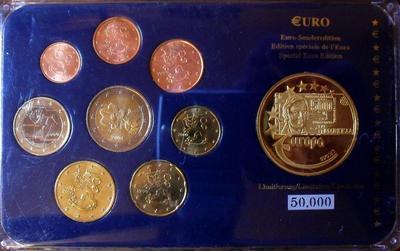 Набор евро монет 1999-2004 Финляндия. Пластик.