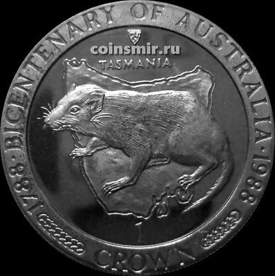 1 крона 1988 остров Мэн. Двухсотлетие Австралии — Тасманский дьявол.