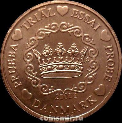 1 евроцент 2002 Дания. Европроба. Specimen.