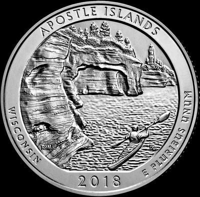 25 центов 2018 D США.  Национальное побережье Апостл-Айлендс. 42-й.