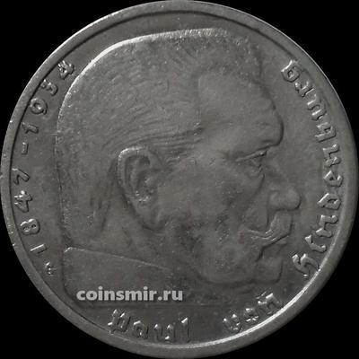2 марки 1936 G Германия. Гинденбург. Третий Рейх.