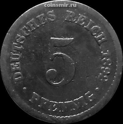 5 пфеннигов 1892 А Германия.