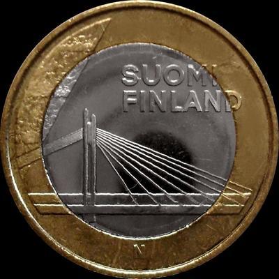 5 евро 2012 Финляндия. Лапландия, Мост Свеча сплавщика.