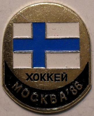 Значок Хоккей. Москва-86. Финляндия.
