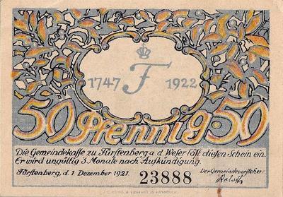50 пфеннигов 1922 Германия. г.Фюрстенберг (Мекленбург-Штрелитц). Нотгельд.