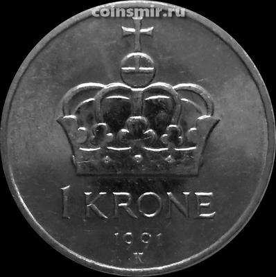 1 крона 1991 Норвегия.