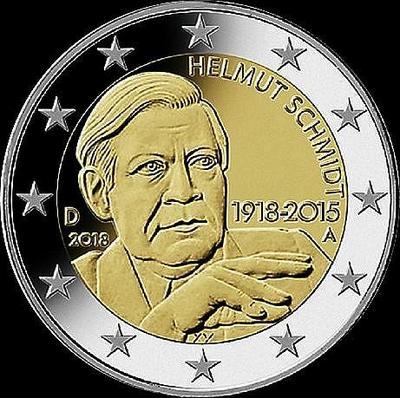 2 евро 2018 А  Германия. 100 лет со дня рождения Гельмута Шмидта.