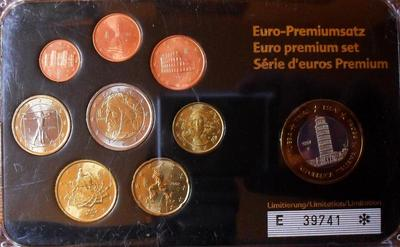 Набор евро монет 2002-2007 + 1 евро (проба Specimen 1997) Италия. Пластик.