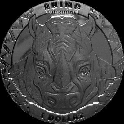 1 доллар 2019 Сьерра Леоне. Носорог.