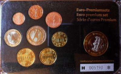 Набор евро монет 2003-2008 + 1 евро 1997 (проба Specimen) Германия. Пластик.