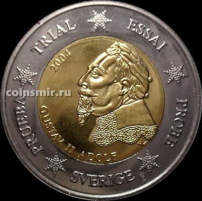 2 евро 2004 Швеция. Европроба. Specimen. Король Густав II Адольф.