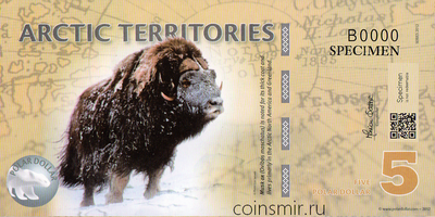 5 долларов 2012 Арктические территории. Овцебык.