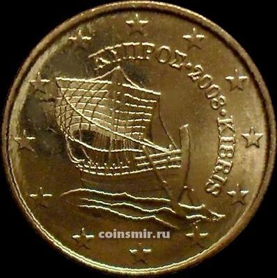 """10 евроцентов 2008 Кипр. Парусник """"Кирения"""". UNC"""