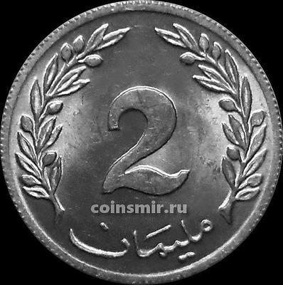 2 миллима 1960 Тунис.