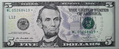 5 долларов 2013 L США. * Звезда-замещение.