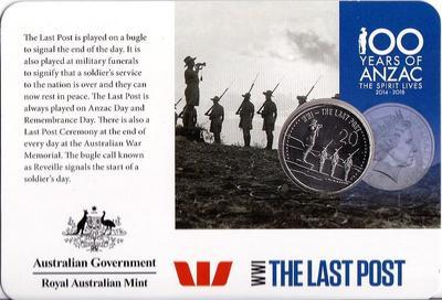 20 центов 2015 Австралия. АНЗАК - Первая Мировая Война 1914-1918. Последнее сообщение. Открытка.