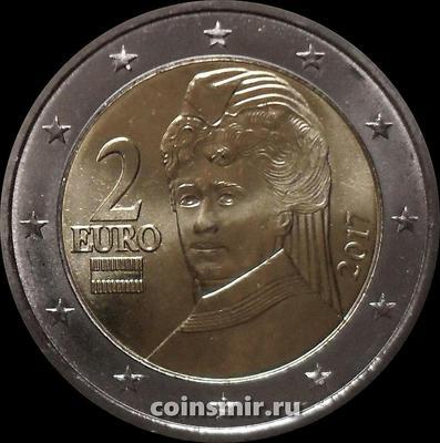 2 евро 2017 Австрия. Берта фон Зуттнер.