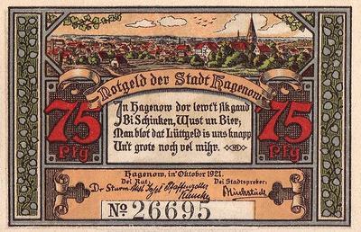 25 пфеннигов 1921 Германия г.Хагенов. Нотгельд.