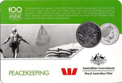 25 центов 2016 Австралия. 100 лет АНЗАК — Поддержание мира.