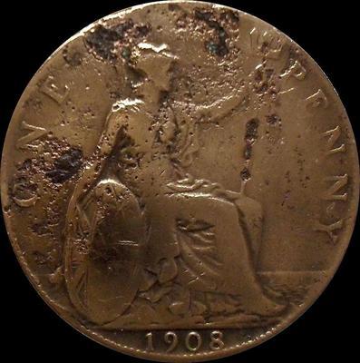 1 пенни 1908 Великобритания.