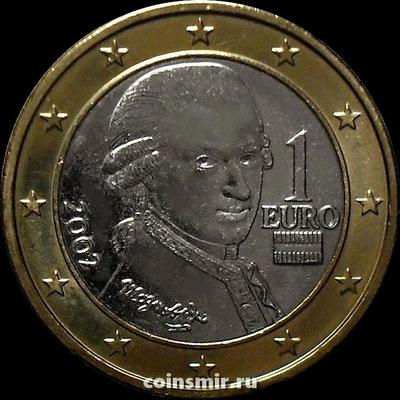 1 евро 2002 Австрия. Моцарт.