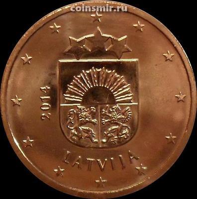 5 евроцентов 2014 Латвия. Герб Латвии.