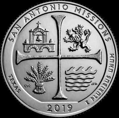 25 центов 2019 S США. Национальный исторический парк Миссии Сан-Антонио. (Техас) 49-й.