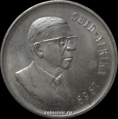 1 ранд 1969 ЮАР Южная Африка. Теофилус Дёнгес. Африканская надпись.