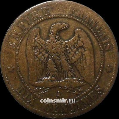 10 сантимов 1861 А Франция.