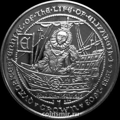 1 крона 2003 Гибралтар. Королева на корабле. Жизнь Елизаветы I.