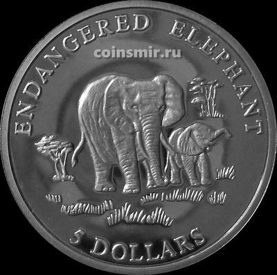 5 долларов 2000 Либерия. Слоны.