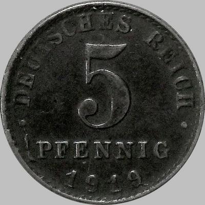 5 пфеннигов 1919 А Германия.