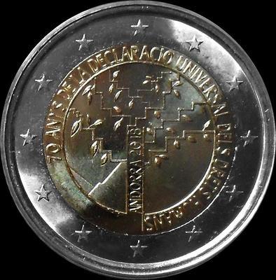 2 евро 2018 Андорра. 70 лет всеобщей декларации прав человека.